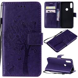 Embossing Butterfly Tree Leather Wallet Case for Xiaomi Mi Play - Purple