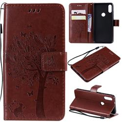 Embossing Butterfly Tree Leather Wallet Case for Xiaomi Mi Play - Coffee
