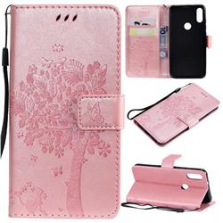 Embossing Butterfly Tree Leather Wallet Case for Xiaomi Mi Play - Rose Pink