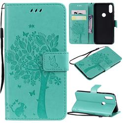 Embossing Butterfly Tree Leather Wallet Case for Xiaomi Mi Play - Cyan