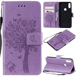 Embossing Butterfly Tree Leather Wallet Case for Xiaomi Mi Play - Violet