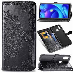 Embossing Imprint Mandala Flower Leather Wallet Case for Xiaomi Mi Play - Black