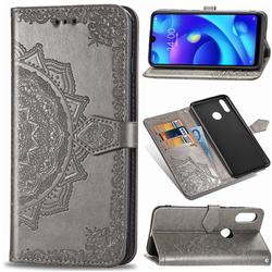 Embossing Imprint Mandala Flower Leather Wallet Case for Xiaomi Mi Play - Gray