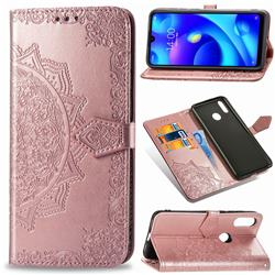 Embossing Imprint Mandala Flower Leather Wallet Case for Xiaomi Mi Play - Rose Gold