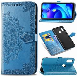 Embossing Imprint Mandala Flower Leather Wallet Case for Xiaomi Mi Play - Blue