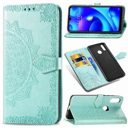 Embossing Imprint Mandala Flower Leather Wallet Case for Xiaomi Mi Play - Green