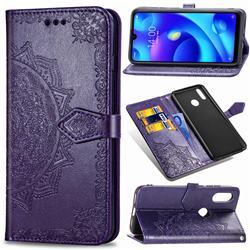 Embossing Imprint Mandala Flower Leather Wallet Case for Xiaomi Mi Play - Purple