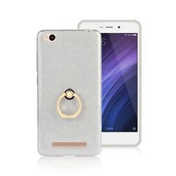 Luxury Soft TPU Glitter Back Ring Cover with 360 Rotate Finger Holder Buckle for Xiaomi Redmi 4A - White