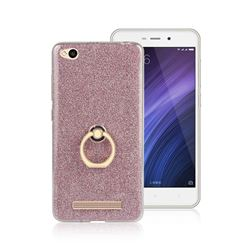 Luxury Soft TPU Glitter Back Ring Cover with 360 Rotate Finger Holder Buckle for Xiaomi Redmi 4A - Pink