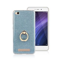Luxury Soft TPU Glitter Back Ring Cover with 360 Rotate Finger Holder Buckle for Xiaomi Redmi 4A - Blue