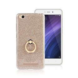 Luxury Soft TPU Glitter Back Ring Cover with 360 Rotate Finger Holder Buckle for Xiaomi Redmi 4A - Golden