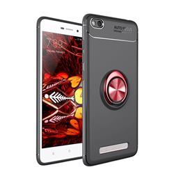 Auto Focus Invisible Ring Holder Soft Phone Case for Xiaomi Redmi 4A - Black Red