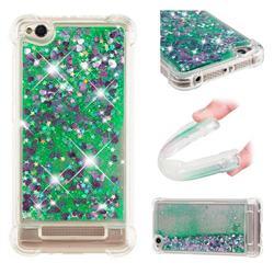 Dynamic Liquid Glitter Sand Quicksand TPU Case for Xiaomi Redmi 4A - Green Love Heart