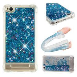 Dynamic Liquid Glitter Sand Quicksand TPU Case for Xiaomi Redmi 4A - Blue Love Heart