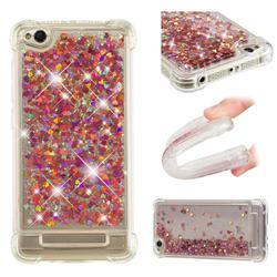 Dynamic Liquid Glitter Sand Quicksand TPU Case for Xiaomi Redmi 4A - Rose Gold Love Heart