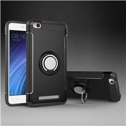 Armor Anti Drop Carbon PC + Silicon Invisible Ring Holder Phone Case for Xiaomi Redmi 4A - Black