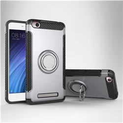 Armor Anti Drop Carbon PC + Silicon Invisible Ring Holder Phone Case for Xiaomi Redmi 4A - Silver