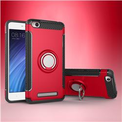 Armor Anti Drop Carbon PC + Silicon Invisible Ring Holder Phone Case for Xiaomi Redmi 4A - Red