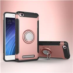 Armor Anti Drop Carbon PC + Silicon Invisible Ring Holder Phone Case for Xiaomi Redmi 4A - Rose Gold