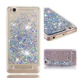 Dynamic Liquid Glitter Quicksand Sequins TPU Phone Case for Xiaomi Redmi 4A - Silver