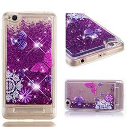 Purple Flower Butterfly Dynamic Liquid Glitter Quicksand Soft TPU Case for Xiaomi Redmi 4A
