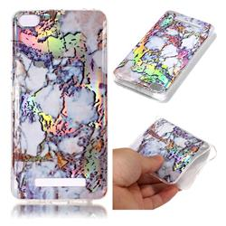 Gold Plating Marble Pattern Bright Color Laser Soft TPU Case for Xiaomi Redmi 4A