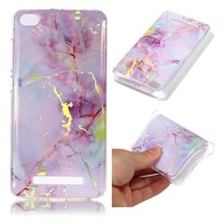 Pink Purple Marble Pattern Bright Color Laser Soft TPU Case for Xiaomi Redmi 4A