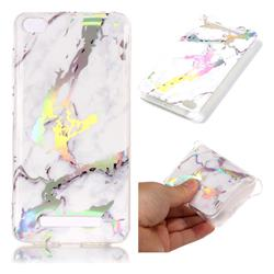 White Marble Pattern Bright Color Laser Soft TPU Case for Xiaomi Redmi 4A