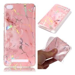 Powder Pink Marble Pattern Bright Color Laser Soft TPU Case for Xiaomi Redmi 4A