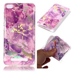 Purple Marble Pattern Bright Color Laser Soft TPU Case for Xiaomi Redmi 4A