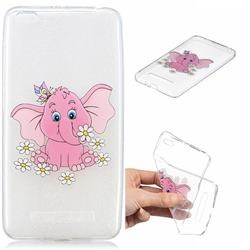 Tiny Pink Elephant Clear Varnish Soft Phone Back Cover for Xiaomi Redmi 4A