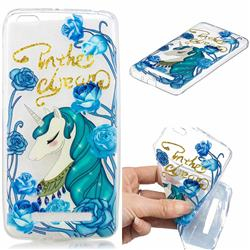 Blue Flower Unicorn Clear Varnish Soft Phone Back Cover for Xiaomi Redmi 4A