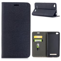 Tree Bark Pattern Automatic suction Leather Wallet Case for Xiaomi Redmi 4A - Black