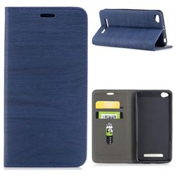 Tree Bark Pattern Automatic suction Leather Wallet Case for Xiaomi Redmi 4A - Blue
