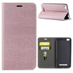Tree Bark Pattern Automatic suction Leather Wallet Case for Xiaomi Redmi 4A - Rose Gold