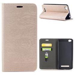 Tree Bark Pattern Automatic suction Leather Wallet Case for Xiaomi Redmi 4A - Champagne Gold