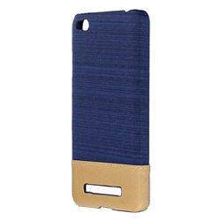 Canvas Cloth Coated Plastic Back Cover for Xiaomi Redmi 4A - Dark Blue