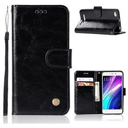 Luxury Retro Leather Wallet Case for Xiaomi Redmi 4A - Black