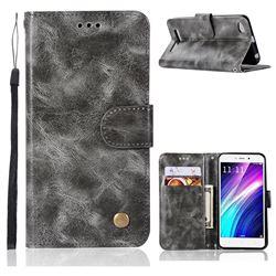 Luxury Retro Leather Wallet Case for Xiaomi Redmi 4A - Gray