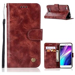 Luxury Retro Leather Wallet Case for Xiaomi Redmi 4A - Wine Red