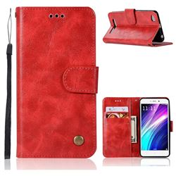 Luxury Retro Leather Wallet Case for Xiaomi Redmi 4A - Red