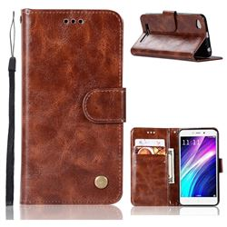 Luxury Retro Leather Wallet Case for Xiaomi Redmi 4A - Brown