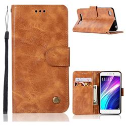 Luxury Retro Leather Wallet Case for Xiaomi Redmi 4A - Golden