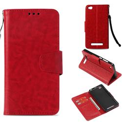 Retro Phantom Smooth PU Leather Wallet Holster Case for Xiaomi Redmi 4A - Red