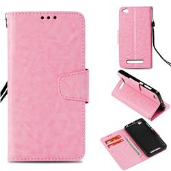 Retro Phantom Smooth PU Leather Wallet Holster Case for Xiaomi Redmi 4A - Pink
