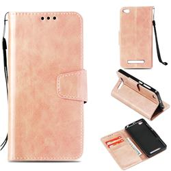 Retro Phantom Smooth PU Leather Wallet Holster Case for Xiaomi Redmi 4A - Rose Gold