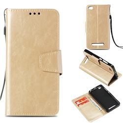 Retro Phantom Smooth PU Leather Wallet Holster Case for Xiaomi Redmi 4A - Champagne