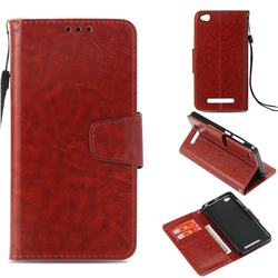 Retro Phantom Smooth PU Leather Wallet Holster Case for Xiaomi Redmi 4A - Brown