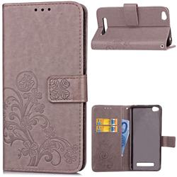 Embossing Imprint Four-Leaf Clover Leather Wallet Case for Xiaomi Redmi 4A - Grey