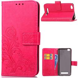 Embossing Imprint Four-Leaf Clover Leather Wallet Case for Xiaomi Redmi 4A - Rose